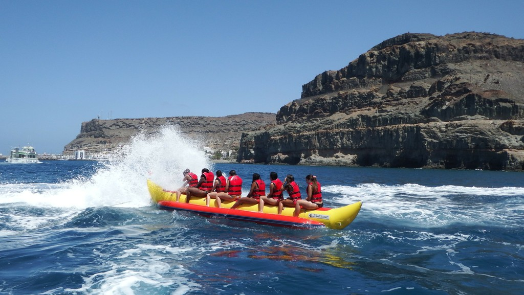 Banana boat at the beach of Mogan in Gran Canria