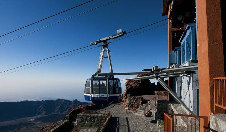 Teide cable car at sunset