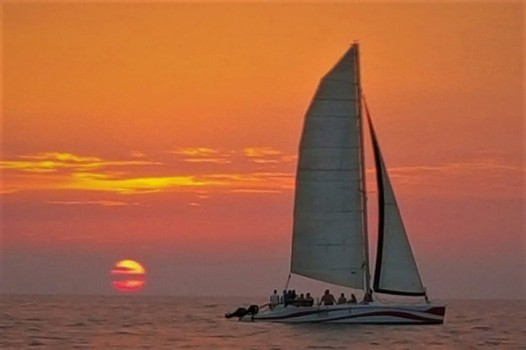 sun set in catamaran