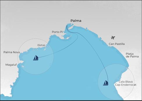 Palma map, excursion Palma bay