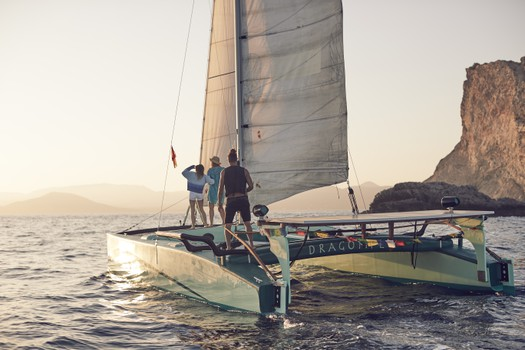 Big charter groups sunset trip on Ecological Catamarans in Formentera, Ibiza
