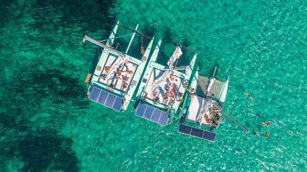 Big groups trip on Ecological Catamarans in Sant Antonio, Ibiza