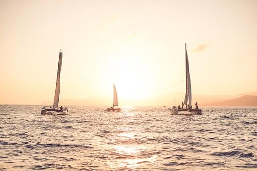 Big charter groups sunset trip on Ecological Catamarans in Sant Antonio, Ibiza