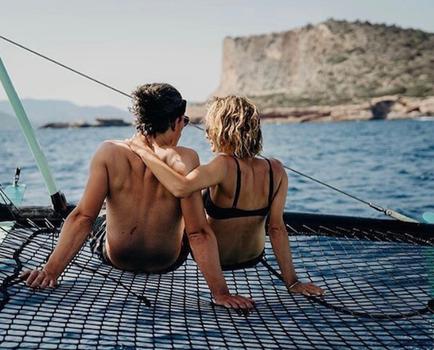Ibiza romantic boat trip couple