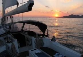 Sailing day sunset