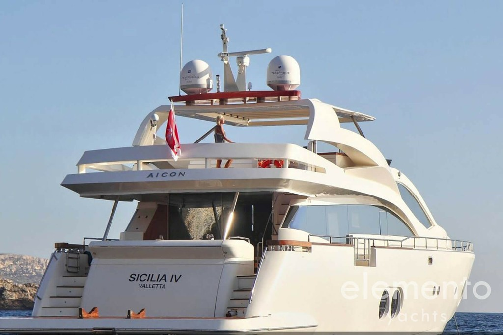 Yacht Charter in Ibiza: Aicon 90 at anchor.