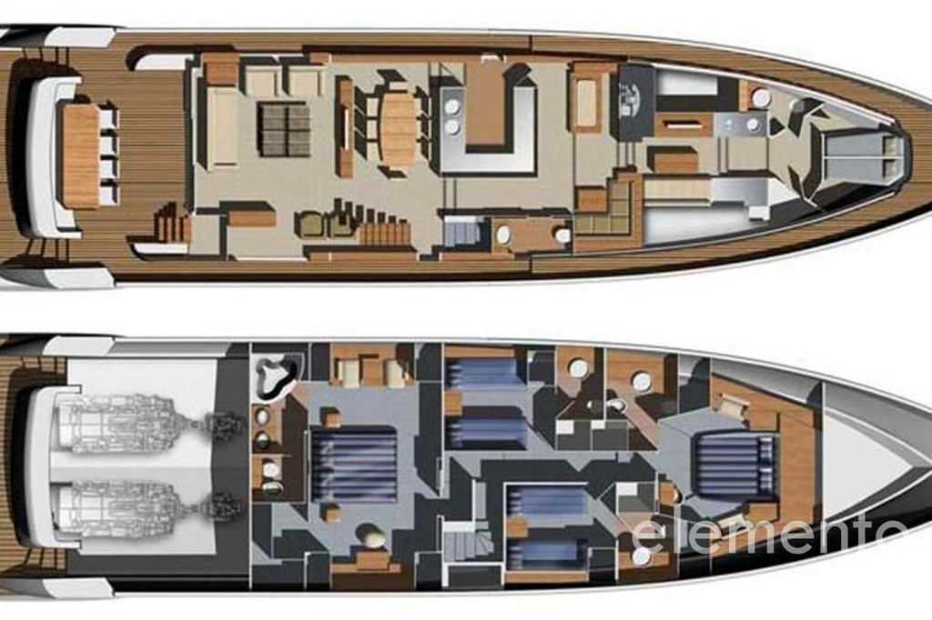 Yacht Charter in Ibiza: Aicon 90 layout.