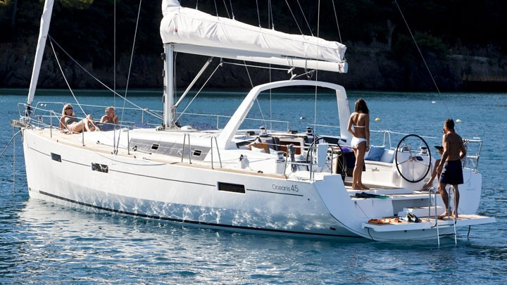 Oceanis 45 on anchor