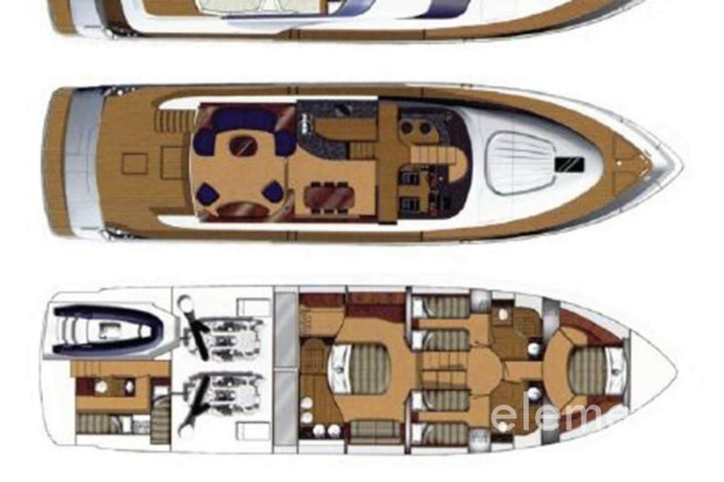 Yachtcharter auf Mallorca: Fairline Squadron 74 Innen Layout.