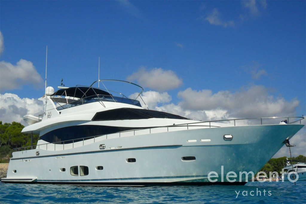 Yacht Charter in Majorca: Monte Fino 78 at anchor.