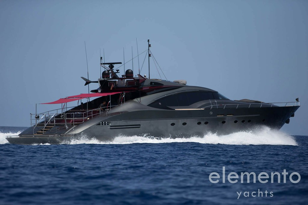 Yacht Charter in Majorca: Palmer Johnson 120 cruising sideview.