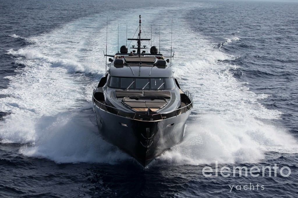 Yacht Charter in Majorca: Palmer Johnson 120 cruising aerial view.