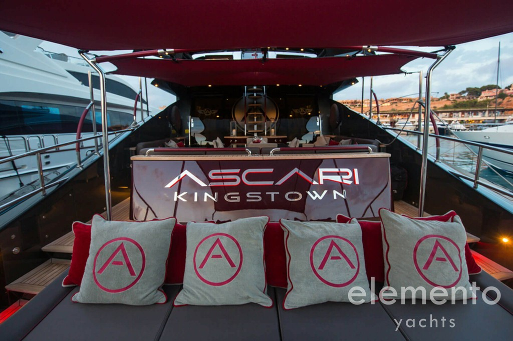 Yacht Charter in Majorca: Palmer Johnson 120 relaxed aft area with sun pads.