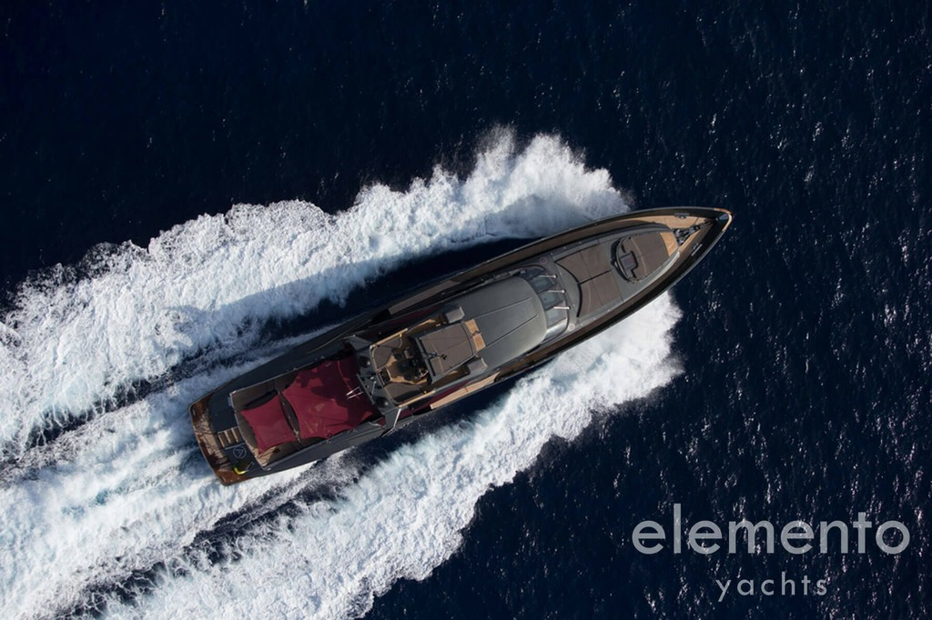 Yacht Charter in Majorca: Palmer Johnson 120 cruising top view.