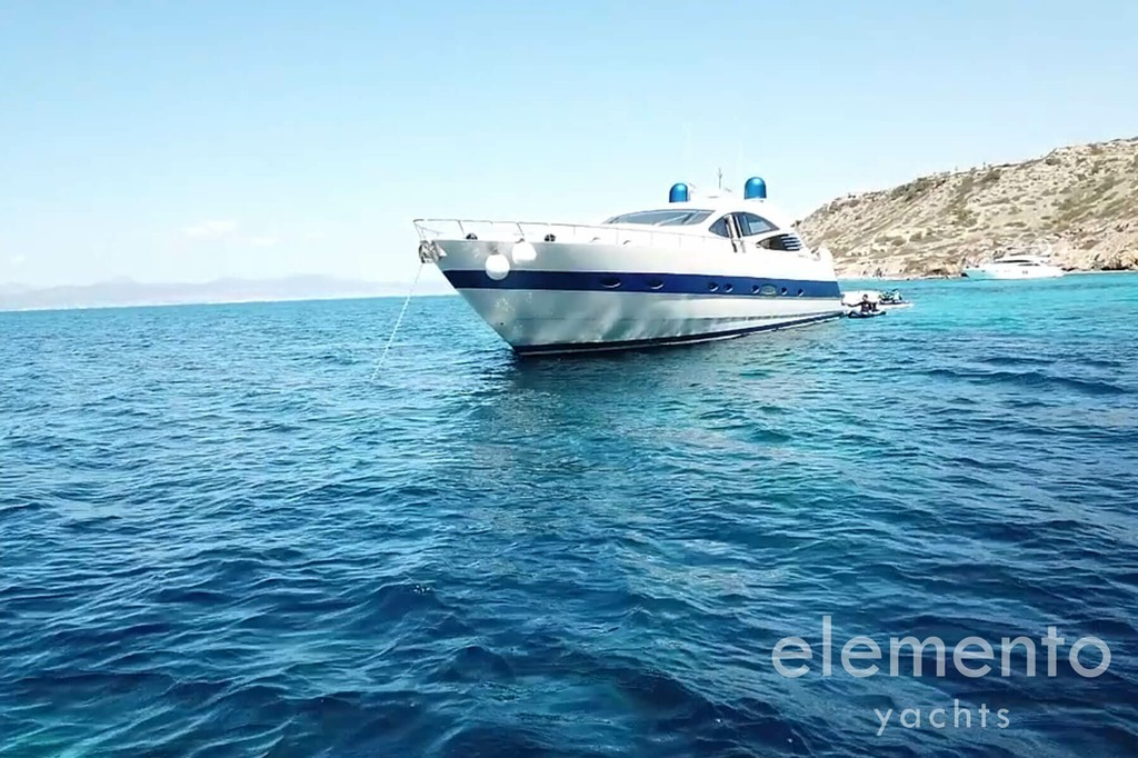 Yacht Charter in Majorca: Pershing 76 at anchor.