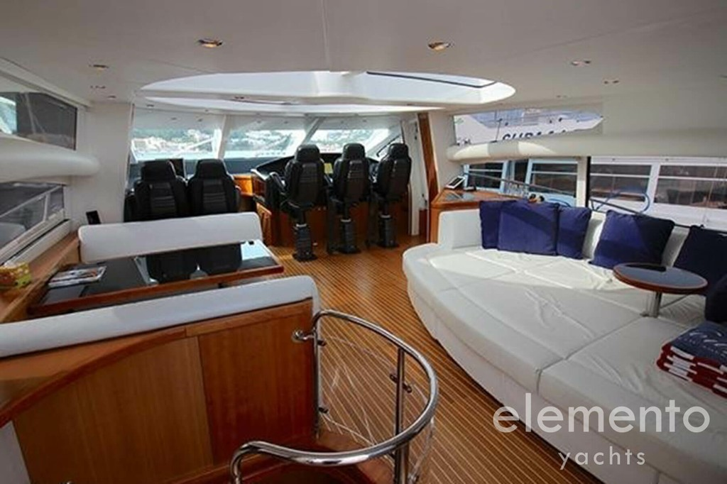 Yacht Charter in Majorca: Sunseeker Predator 82 salon with electric hardtop.