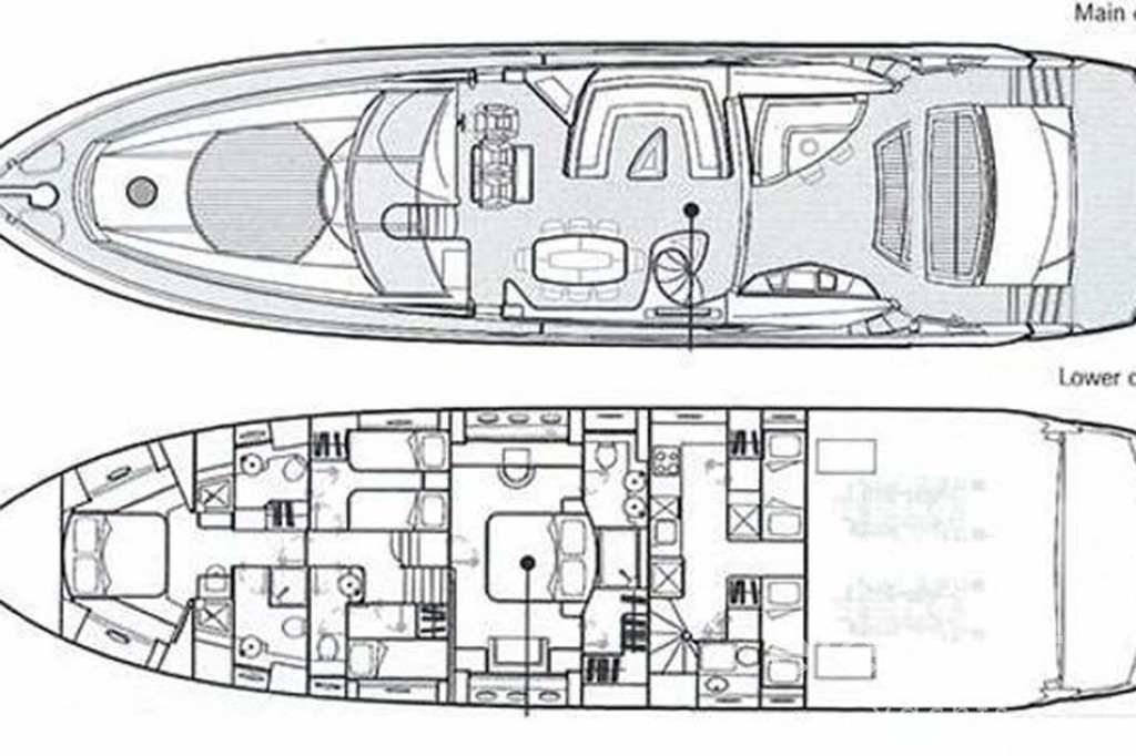 Yacht Charter in Majorca: Sunseeker Predator 82 main deck and lower deck layout.